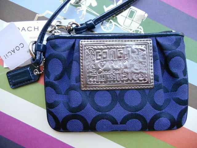 全新真品 Coach 42891 Poppy 藍紫色大C織布手拿包手機袋