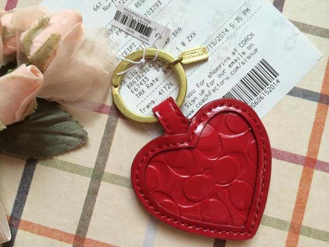 全新真品 Coach 67976 紅色亮皮鏡子鑰匙圈