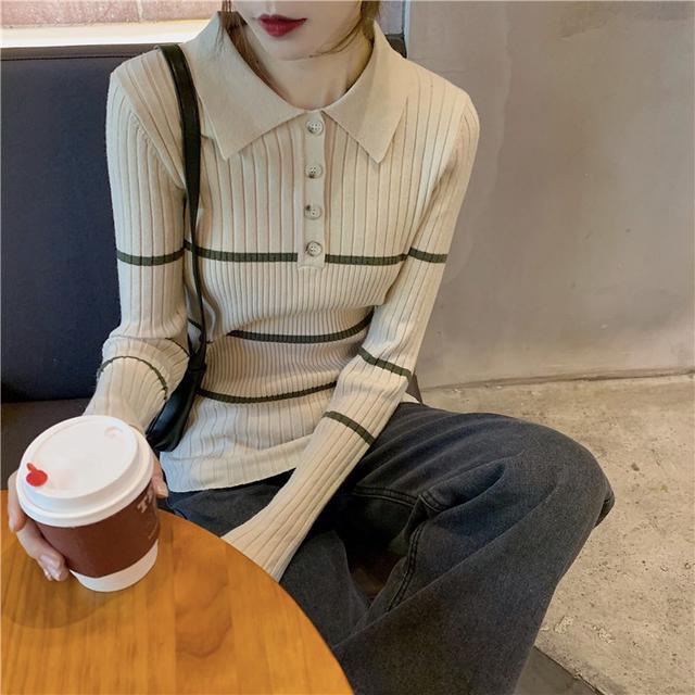 11/21 寬鬆翻領撞色杠條針織衫(3色)