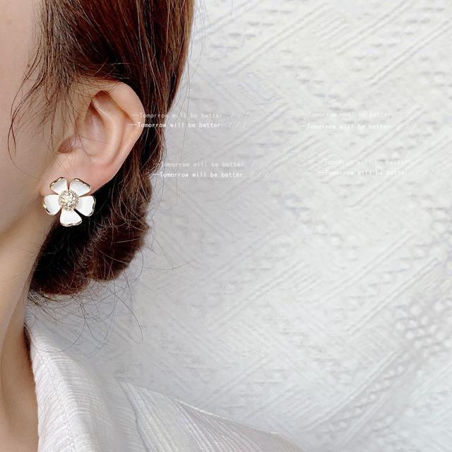 鋯石S925銀針仙氣不規則立體花朵耳釘韓國東大門氣質耳環耳飾