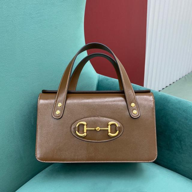 Gucci 1955馬銜扣全皮手提包