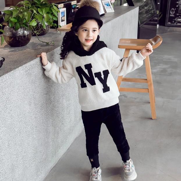 11 110-160 童裝 泰迪絨撞色字母連帽衛衣(2色) 86291