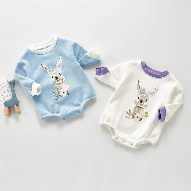 【預購】兔子純棉加絨包屁衣