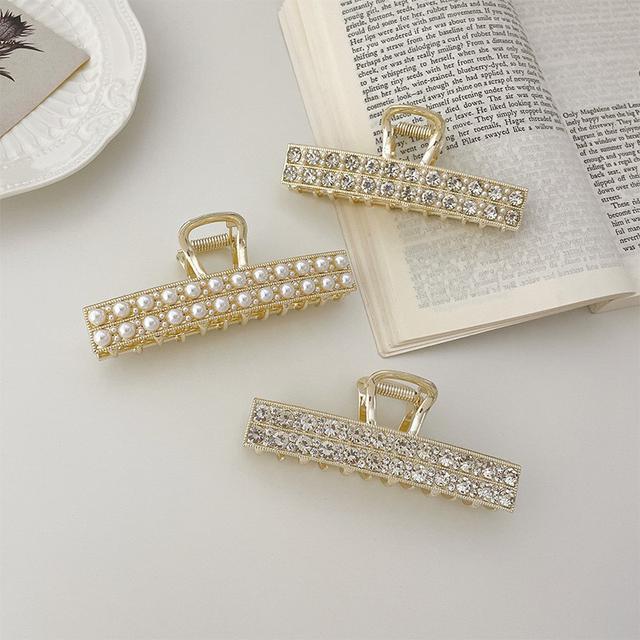 韓國IG金屬一字雙排珍珠水鑽髮夾後腦勺盤髮女夾子頭飾