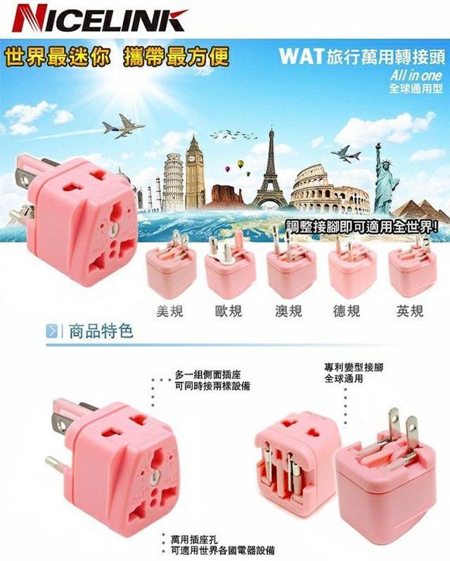 NICELINK《全球通用型》旅行萬用轉接頭(WAT) 限量粉色 獨家電壓判斷指示燈