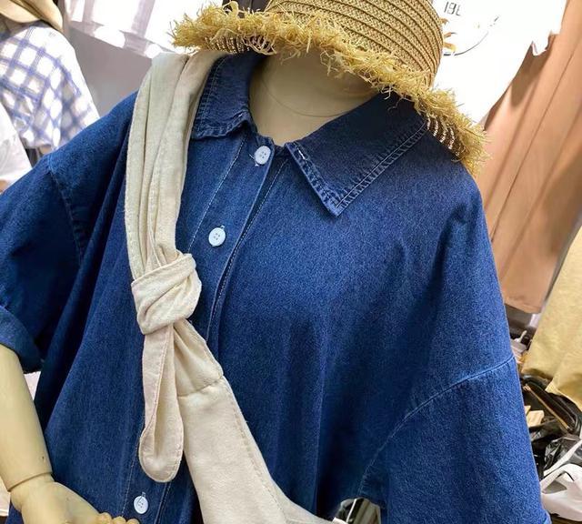 A017 韓國牛仔清新可愛深藍洋裝