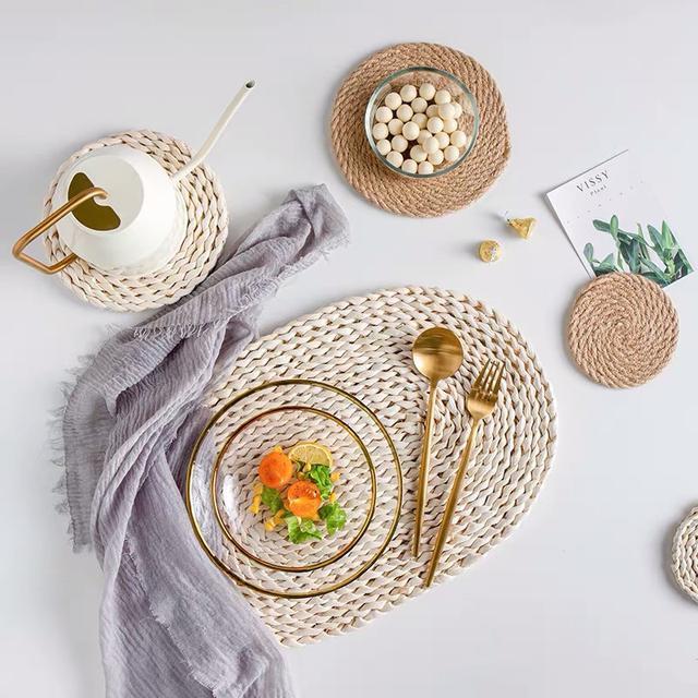 [台灣發貨 現貨] 玉米編織杯墊 餐墊 藤編杯墊 茶壺墊 拍照道具