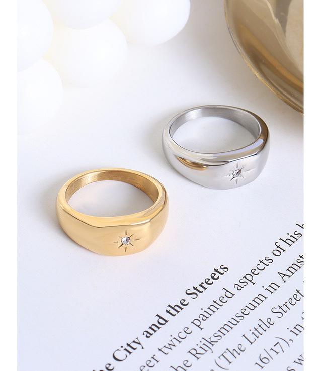 歐美IG風鑲嵌鋯石疊戴戒指潮酷鈦鋼鍍18真金choker指戒飾品