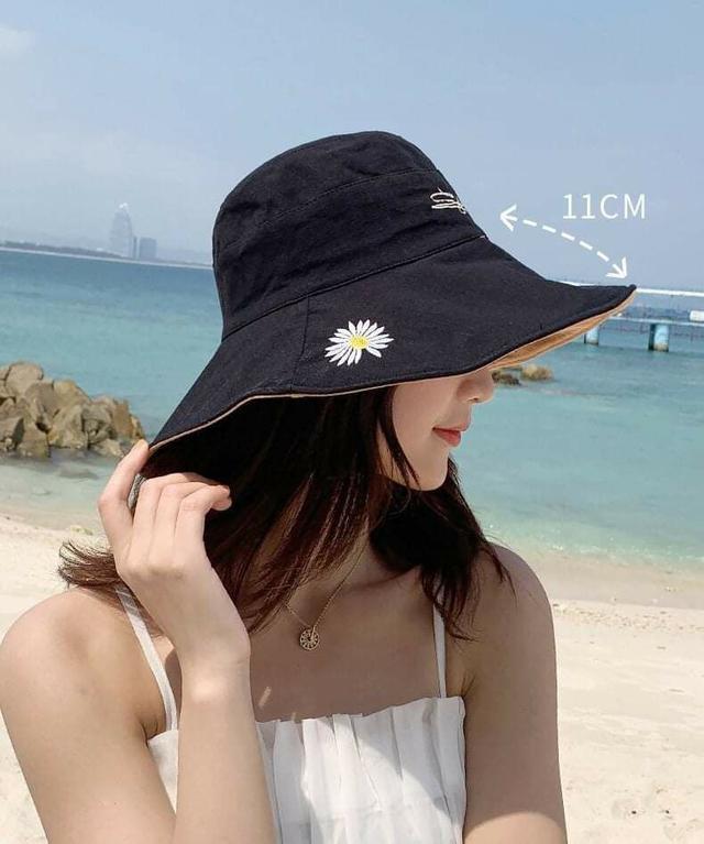 (預購S) H172 - 小雛菊雙面雙色大帽沿遮陽帽