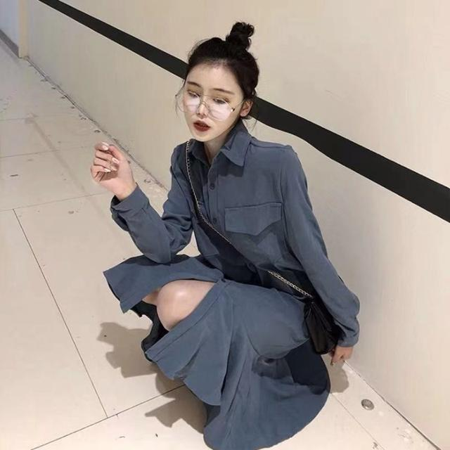 預購韓版法式復古超仙女氣質小香風過膝polo連衣裙子(批A)