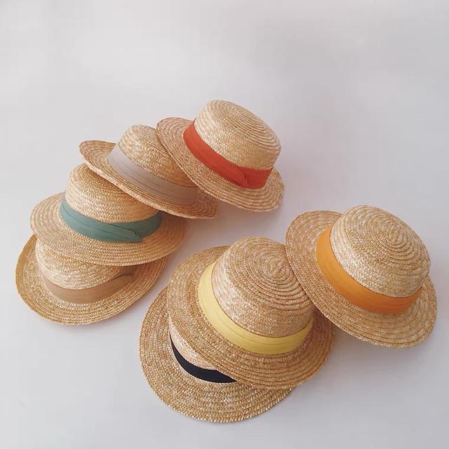 韓系兒童夏季防晒草帽小礼帽平顶帽