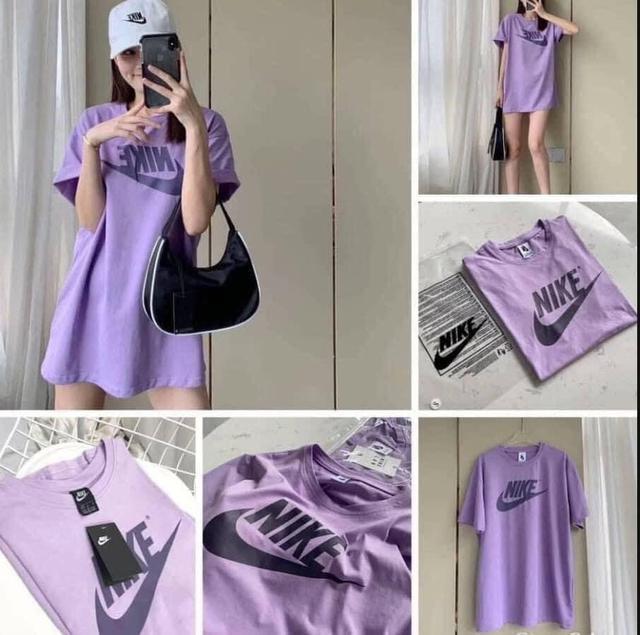 大勾紫色寬鬆大版純色T恤