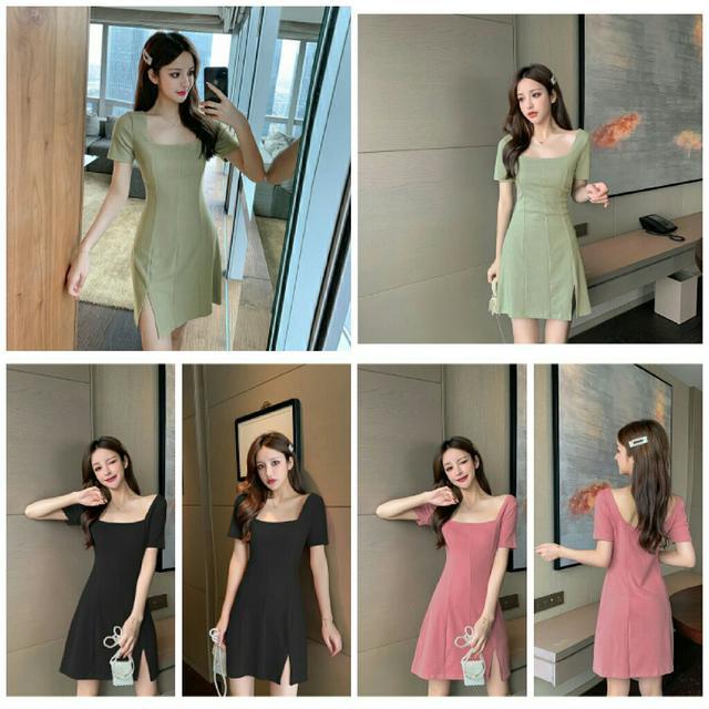 預購6-9天 夏裝新款純色短袖連衣裙