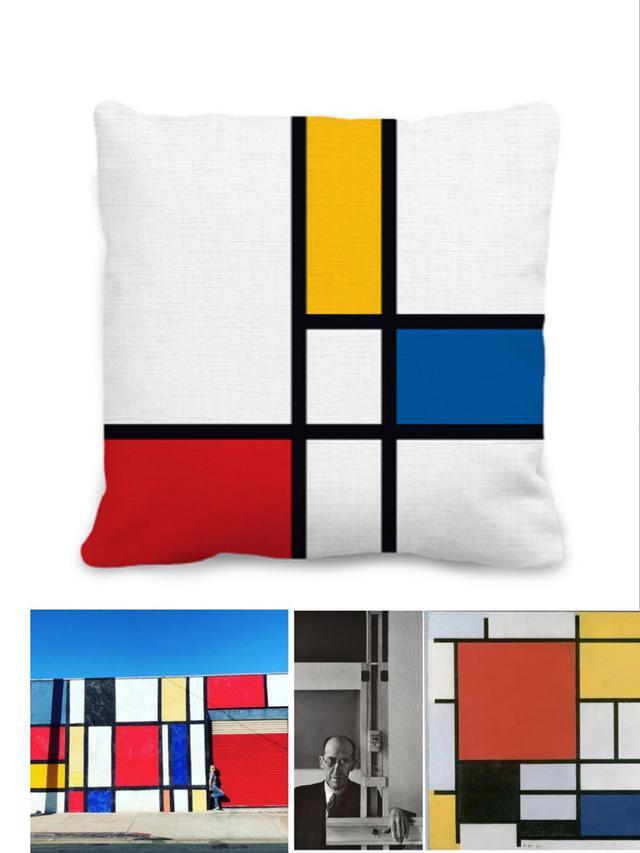 幾何抽像畫風抱枕套  (Mondrian)