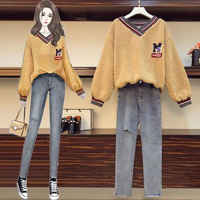 SO18038專櫃手繪實拍 大碼學院風加厚保暖羊羔絨上衣+割破牛仔褲 分開套裝(2色)