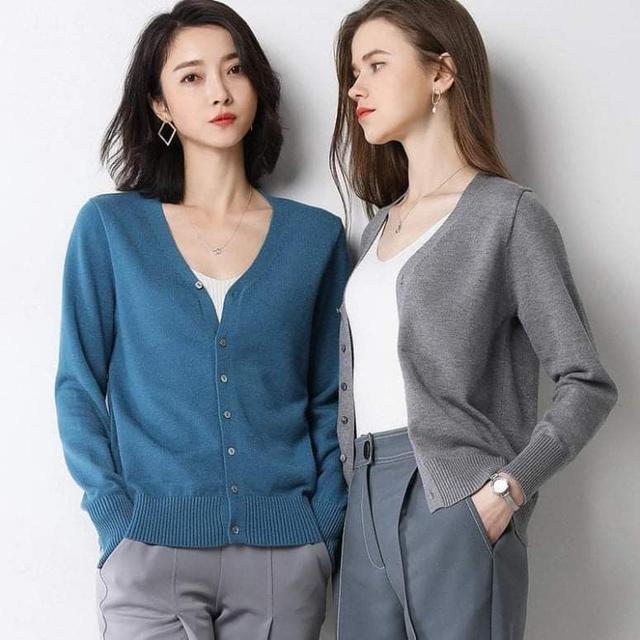 (預購S) K339 - 韓版V領排釦針織薄外套