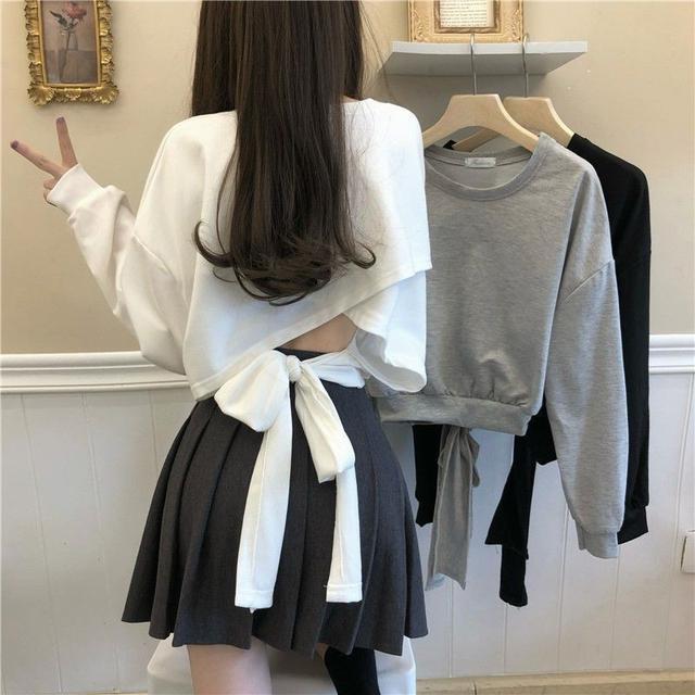 (L)預購 🍂秋冬短版小心機鏤空寬鬆薄長T