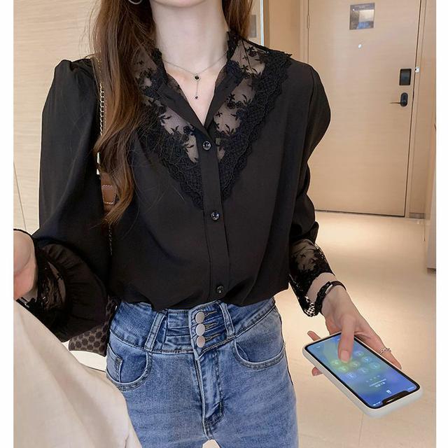 1010 蕾絲打底衫女春秋設計感小眾內搭洋氣心機上衣雪紡拼接襯衫