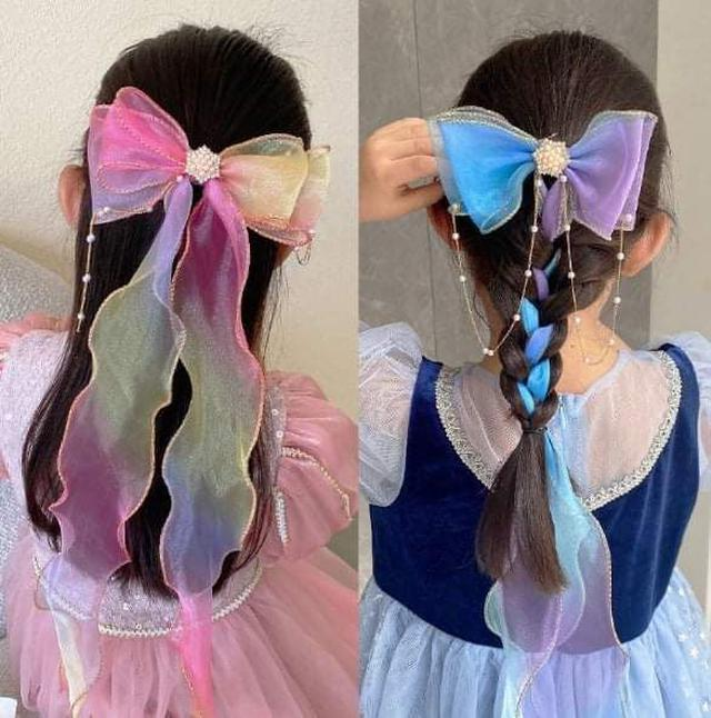 (預購S) H246 - 蝴蝶結珍珠鍊條編髮髮夾