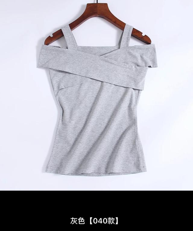 吊带一字肩上衣女漏锁骨一字领T恤女短袖性感交叉漏两肩V领体恤夏
