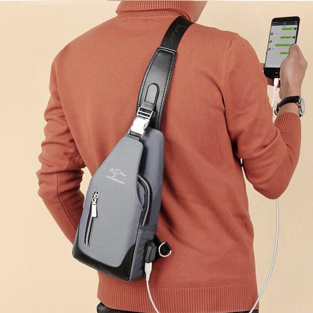 [現貨] 韓版 男用袋鼠包 胸前包