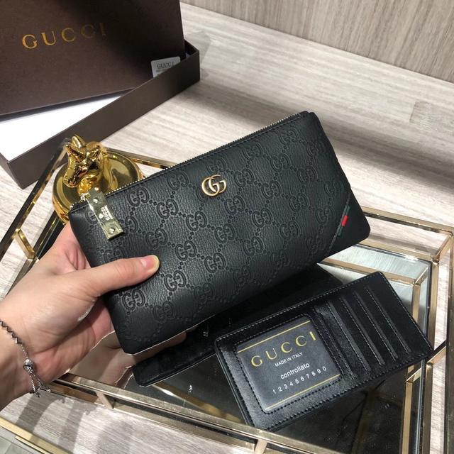 古奇🔥手包👍牛皮手感一流内置卡位外附手机位男士必备 錢包