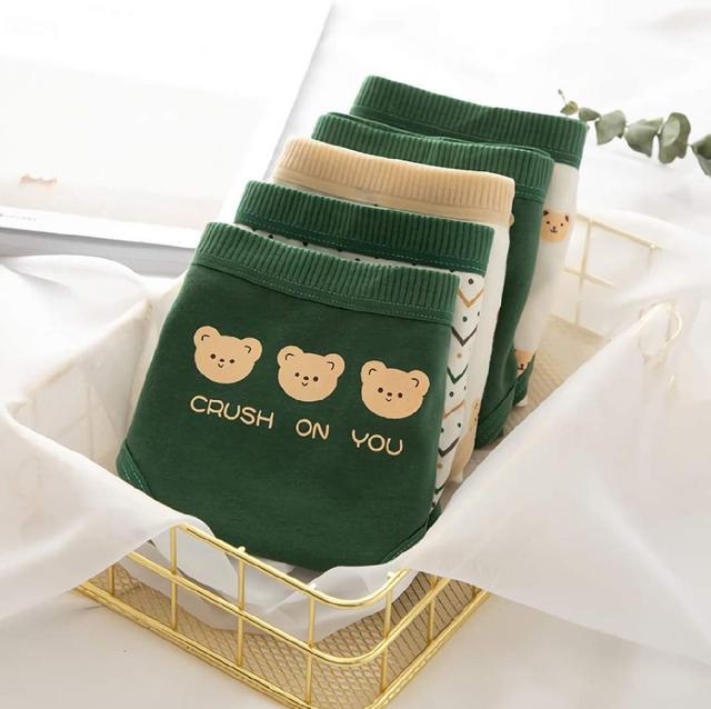 (預購s+) E025-新款日系可愛小熊純棉內褲(一組5件)