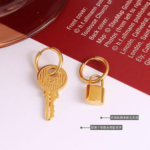 法式個性立體誇張鎖頭鑰匙質感耳環風格鈦鋼18k金耳環耳飾