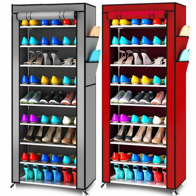 多功能鞋櫃 簡易鞋架十層鞋架 9隔 收納架 組合鞋架 衣架收納箱