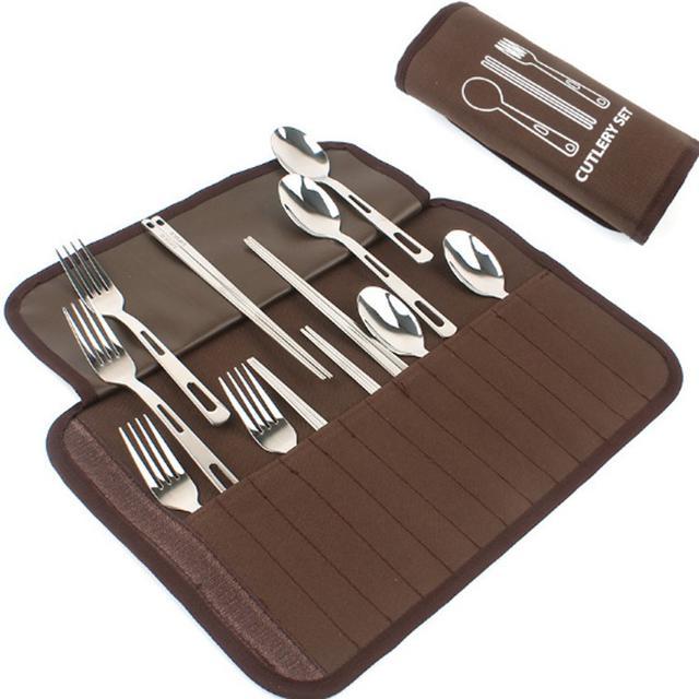 戶外餐具套裝野營燒烤4人餐具便攜不銹鋼勺子筷子叉子野餐野炊包