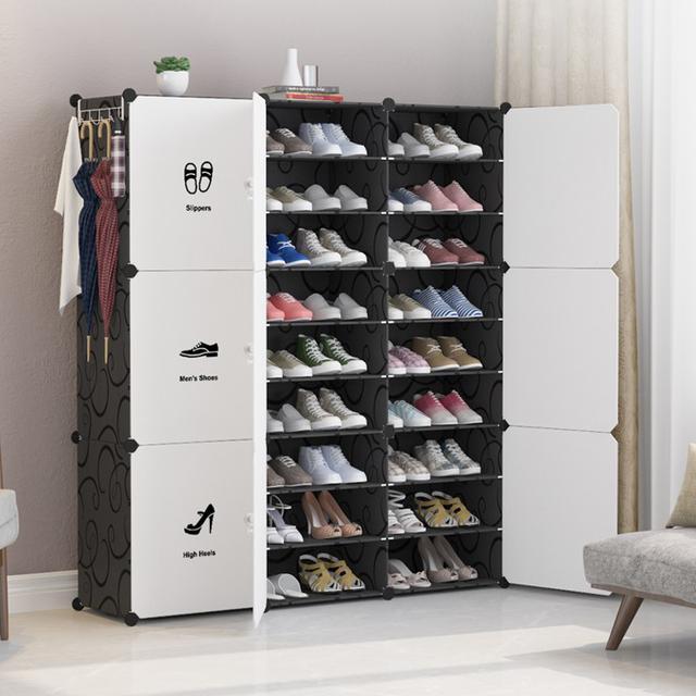 DIY升級拉手創意鞋櫃 側開門膜片鞋櫃 簡約現代組裝經濟型鞋櫃