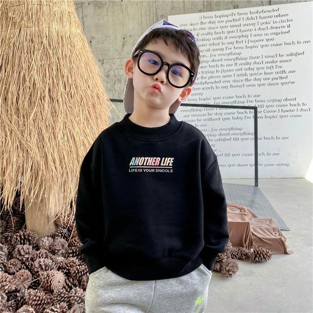 【早鳥優惠】街頭潮流90-150CM童裝【韓版】時尚男童炫亮字母圓領針織衫