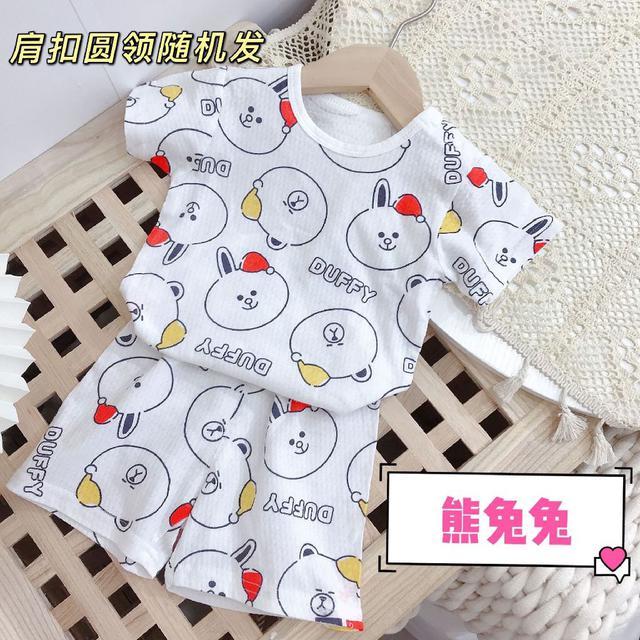 2021夏季新款嬰童家居短袖套頭套裝透氣家居服寶寶可愛多色外出服