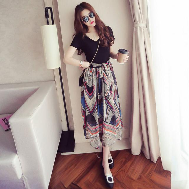 夏季女韓版短袖印花雪紡連衣裙女顯瘦V領中長款收腰長裙