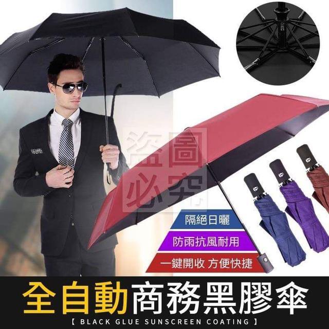 全自動商務黑膠傘