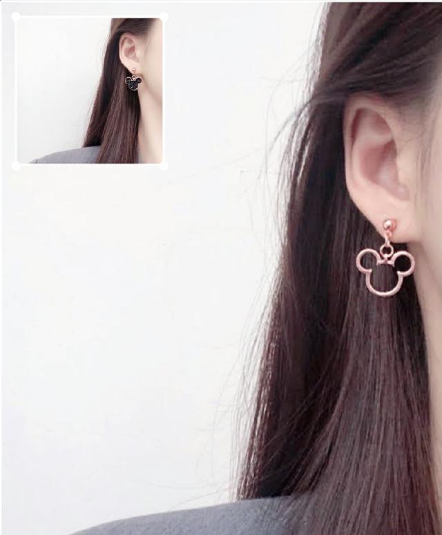 🌟現貨🌟正韓不對稱鏤空可愛米老鼠耳環