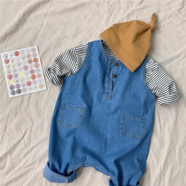 童裝|春款條紋牛仔連體衣套裝