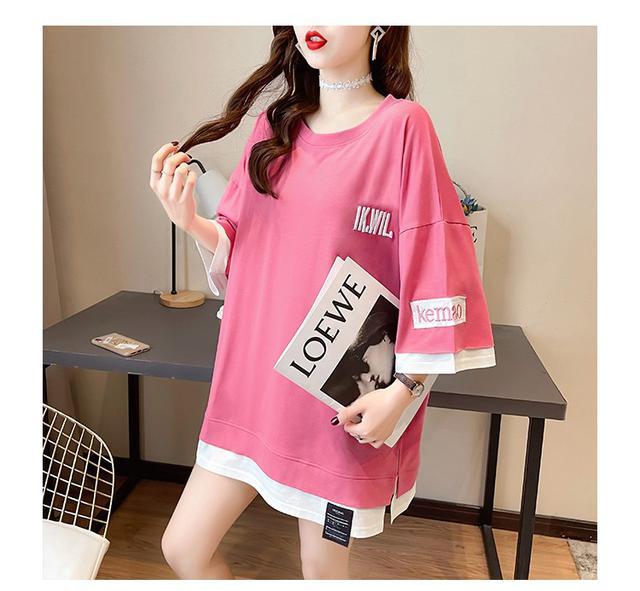 32181 ● 假兩件寬鬆薄款刺繡短袖T卹