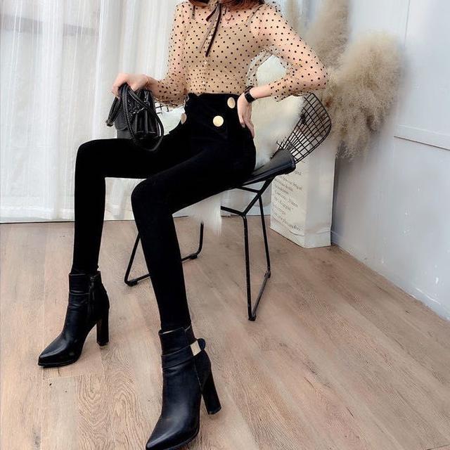 打底褲女緊身小腳褲2020秋冬新款韓版外穿彈力瘦腿褲黑色高腰長褲