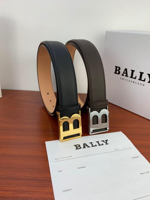 【精選禮品】BALLY皮帶巴利腰帶  頭層牛皮帶身純鋼扣男士腰帶 商務皮帶