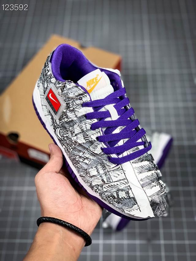 Nike 0ff-White x Nike Dunk 白紫反鈎倒鈎 撕紙鴛鴦板鞋