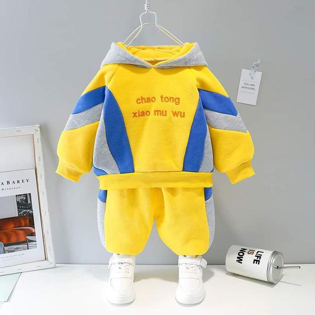 【預購】男童拼色內刷毛套裝