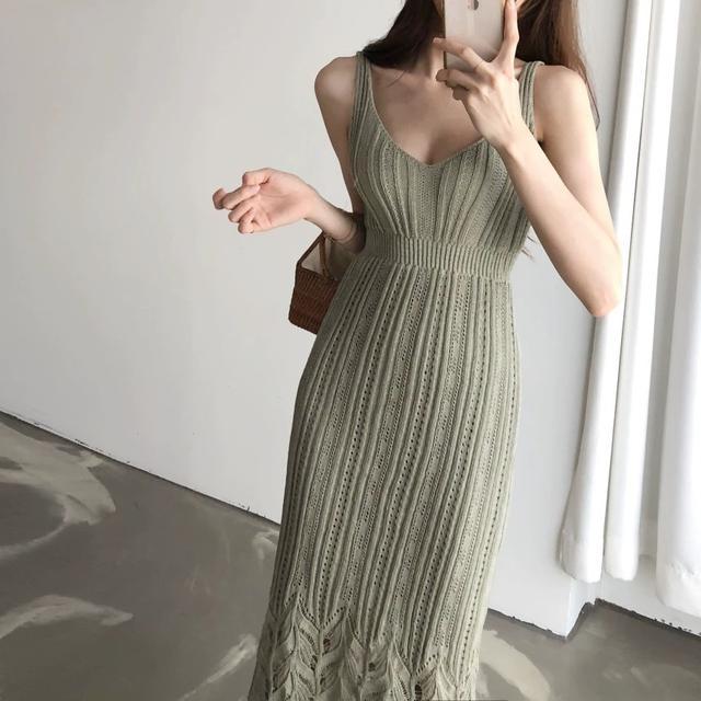 BBMI韓版長版內搭針織長襯裙