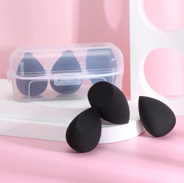 遇水膨脹!黑色美妝蛋🥚三件組(送透明收納盒)