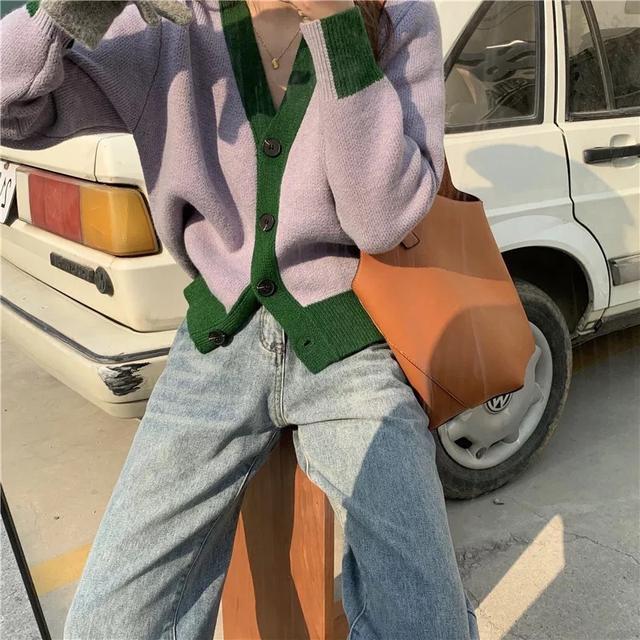 🌈春季新款韓風V領寬鬆單排釦撞色針織外套