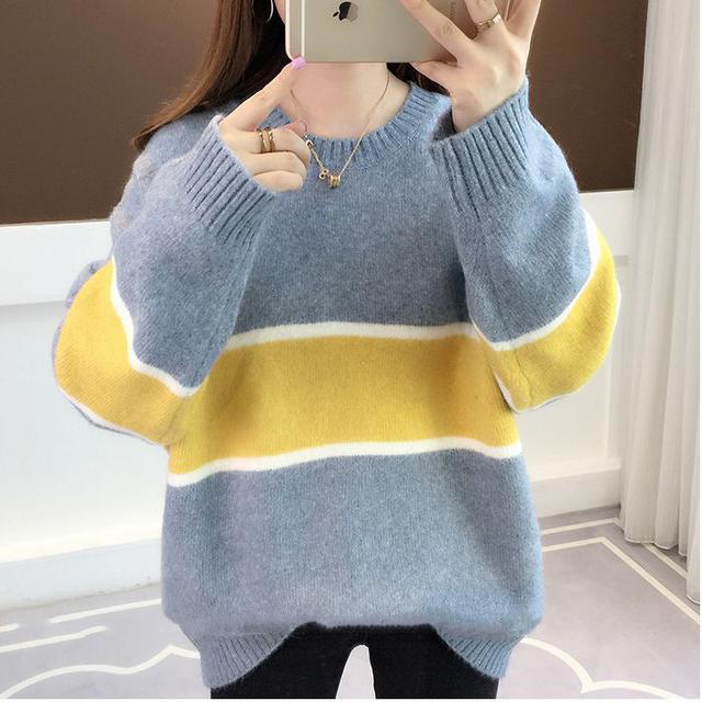 韓國時尚寬鬆百搭針織衫(藍色L現貨)