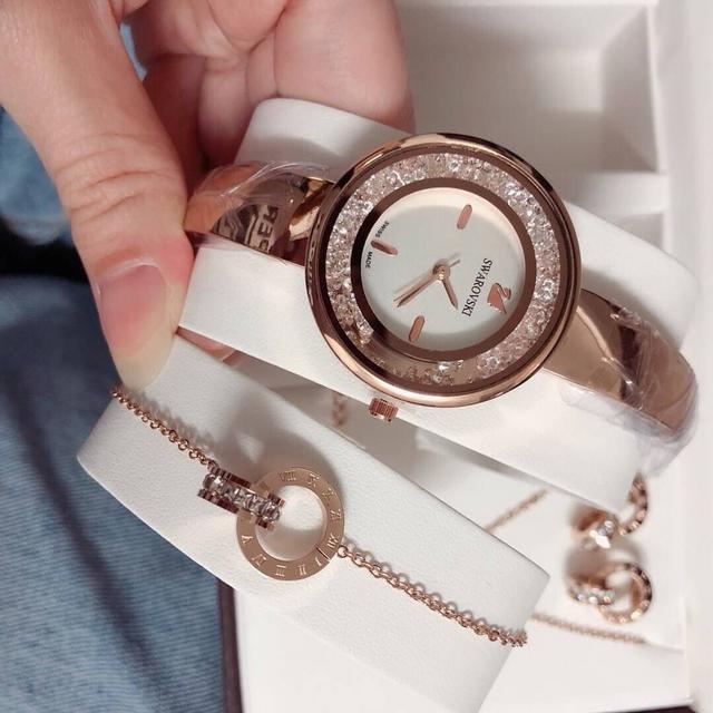 S warovski 施華洛世奇✨ 五件套,精鋼飾品配圖片盒子手錶