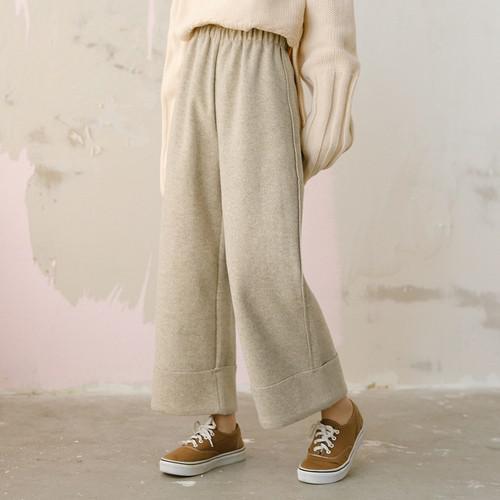 11 鬆緊呢子寬鬆闊腿褲(2色)
