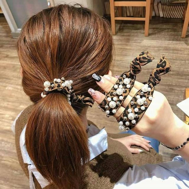 韓國爆款東大門珍珠豹紋髮圈