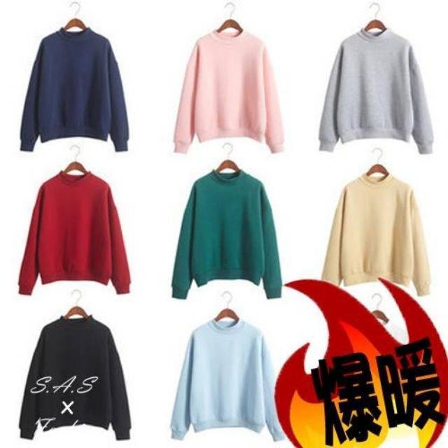 【現貨】 大學T 寬鬆長袖 加絨加厚內刷毛保暖大學T 冬天T恤